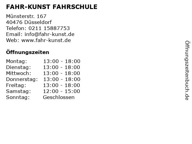 FAHR-KUNST FAHRSCHULE in Düsseldorf: Adresse und Öffnungszeiten
