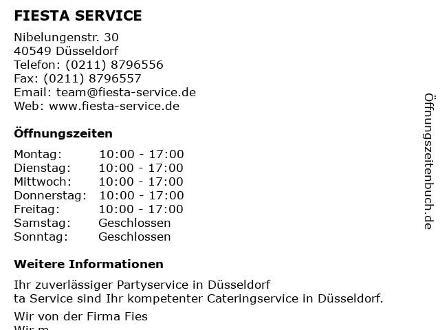 FIESTA SERVICE in Düsseldorf: Adresse und Öffnungszeiten