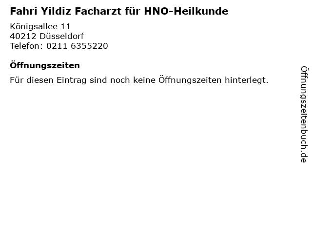 Fahri Yildiz Facharzt für HNO-Heilkunde in Düsseldorf: Adresse und Öffnungszeiten