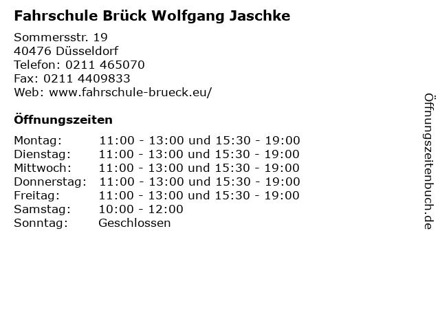 Fahrschule Brück Wolfgang Jaschke in Düsseldorf: Adresse und Öffnungszeiten