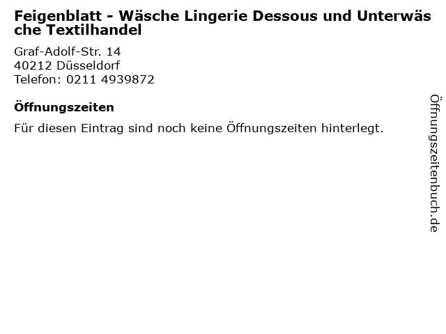Feigenblatt - Wäsche Lingerie Dessous und Unterwäsche Textilhandel in Düsseldorf: Adresse und Öffnungszeiten