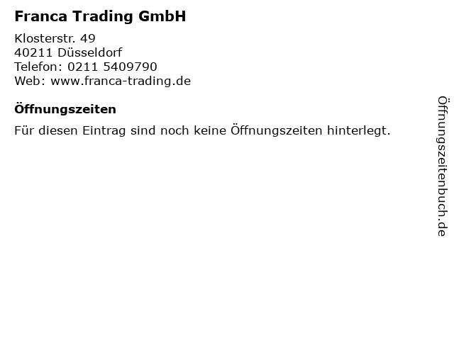 Franca Trading GmbH in Düsseldorf: Adresse und Öffnungszeiten
