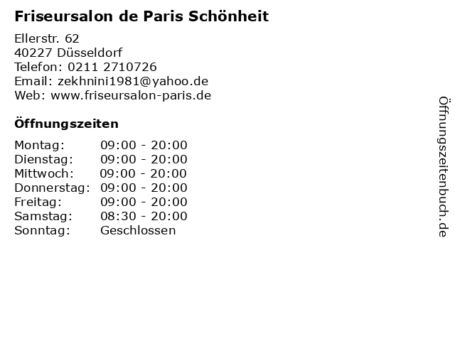 Friseursalon de Paris Schönheit in Düsseldorf: Adresse und Öffnungszeiten
