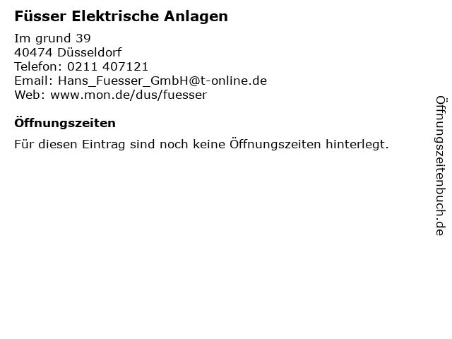 Füsser Elektrische Anlagen in Düsseldorf: Adresse und Öffnungszeiten
