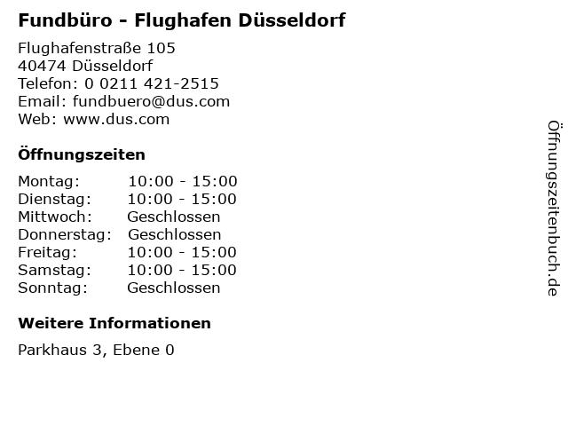 Fundbüro - Flughafen Düsseldorf in Düsseldorf: Adresse und Öffnungszeiten