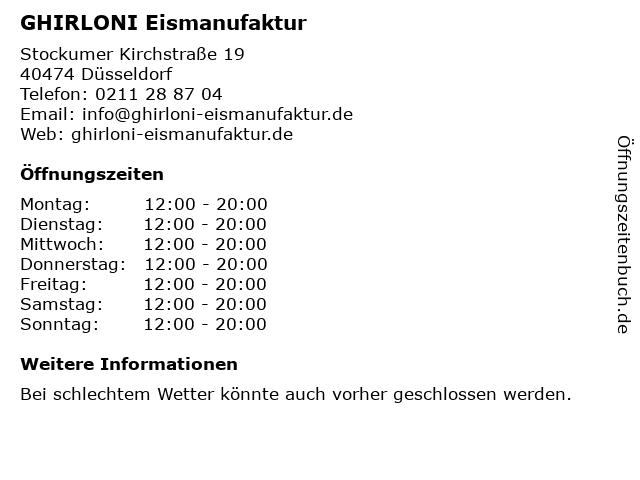GHIRLONI Eismanufaktur in Düsseldorf: Adresse und Öffnungszeiten
