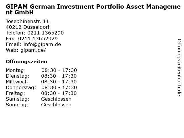 GIPAM German Investment Portfolio Asset Management GmbH in Düsseldorf: Adresse und Öffnungszeiten