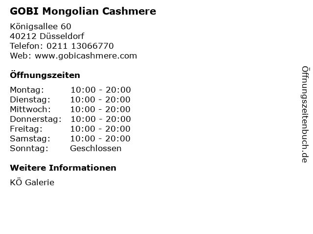 GOBI Mongolian Cashmere in Düsseldorf: Adresse und Öffnungszeiten