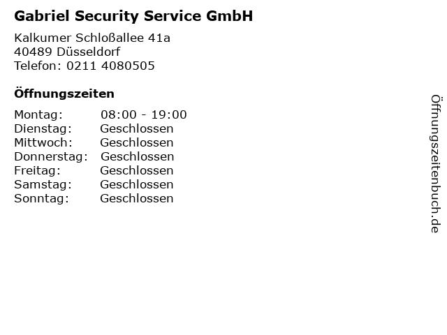 Gabriel Security Service GmbH in Düsseldorf: Adresse und Öffnungszeiten