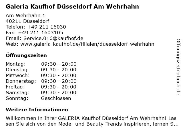 Galeria Kaufhof Düsseldorf Am Wehrhahn in Düsseldorf: Adresse und Öffnungszeiten