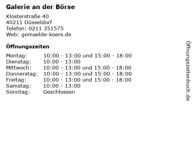 Galerie an der Börse in Düsseldorf: Adresse und Öffnungszeiten