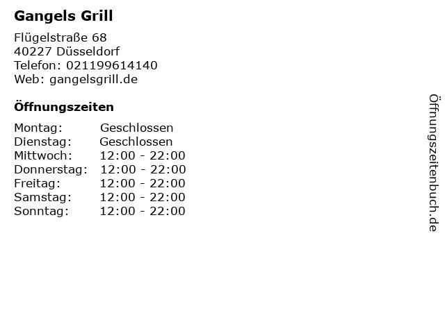 Gangels Grill in Düsseldorf: Adresse und Öffnungszeiten