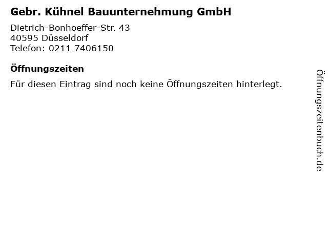 Gebr. Kühnel Bauunternehmung GmbH in Düsseldorf: Adresse und Öffnungszeiten