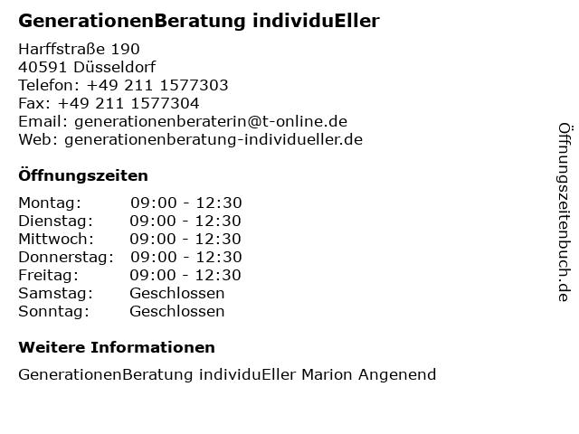 GenerationenBeratung individuEller in Düsseldorf: Adresse und Öffnungszeiten
