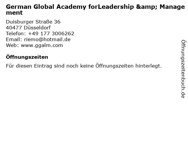 German Global Academy forLeadership & Management in Düsseldorf: Adresse und Öffnungszeiten