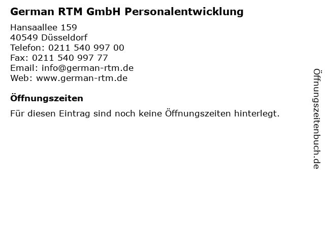 German RTM GmbH Personalentwicklung in Düsseldorf: Adresse und Öffnungszeiten