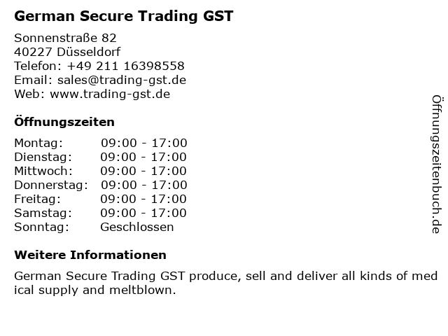 German Secure Trading GST in Düsseldorf: Adresse und Öffnungszeiten