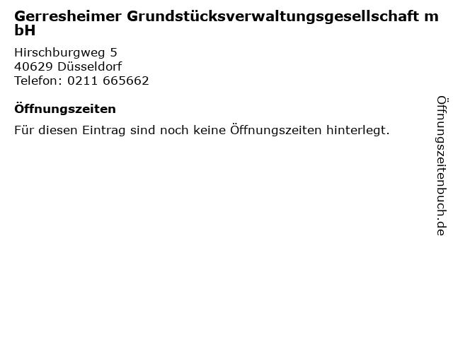 Gerresheimer Grundstücksverwaltungsgesellschaft mbH in Düsseldorf: Adresse und Öffnungszeiten