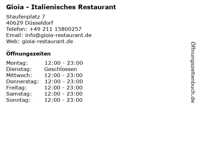 Gioia - Italienisches Restaurant in Düsseldorf: Adresse und Öffnungszeiten