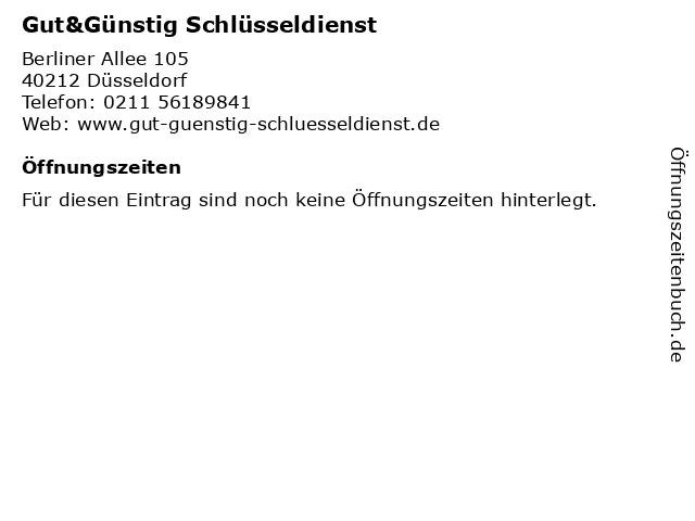 Gut&Günstig Schlüsseldienst in Düsseldorf: Adresse und Öffnungszeiten