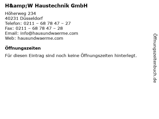 H&W Haustechnik GmbH in Düsseldorf: Adresse und Öffnungszeiten