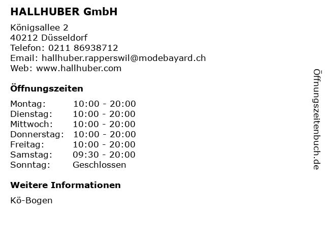 HALLHUBER GmbH in Düsseldorf: Adresse und Öffnungszeiten