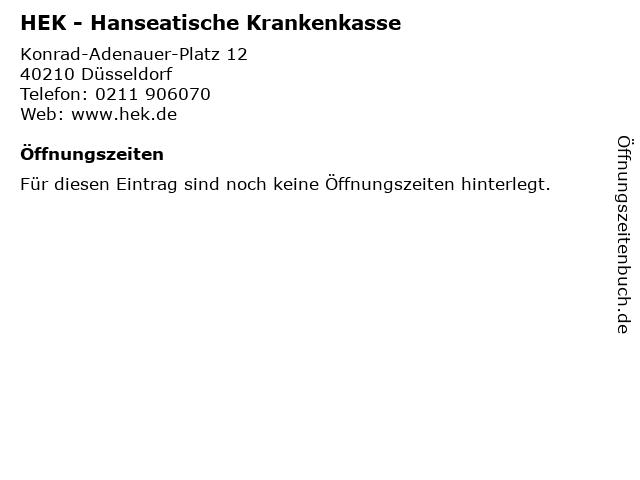 HEK - Hanseatische Krankenkasse in Düsseldorf: Adresse und Öffnungszeiten