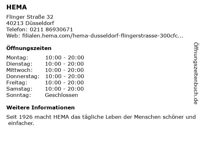 HEMA in Düsseldorf: Adresse und Öffnungszeiten