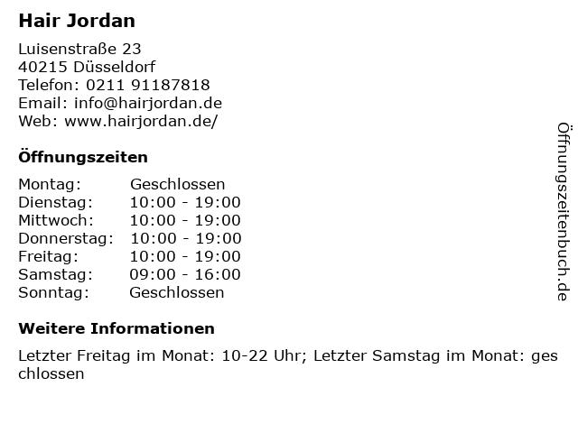 Hair Jordan in Düsseldorf: Adresse und Öffnungszeiten