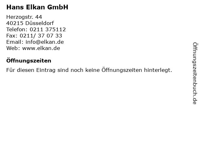 Hans Elkan GmbH in Düsseldorf: Adresse und Öffnungszeiten