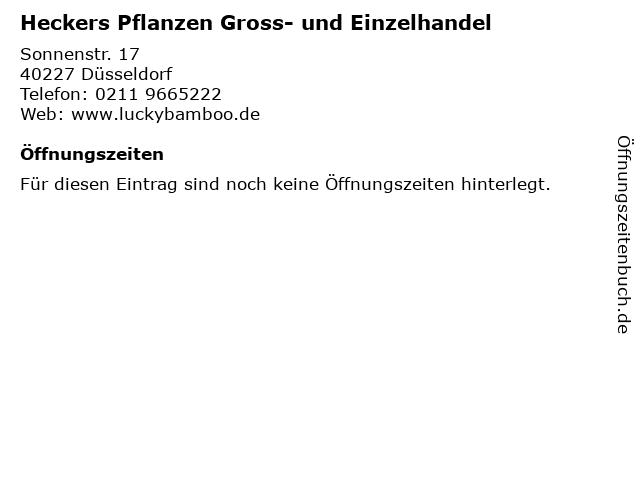 Heckers Pflanzen Gross- und Einzelhandel in Düsseldorf: Adresse und Öffnungszeiten