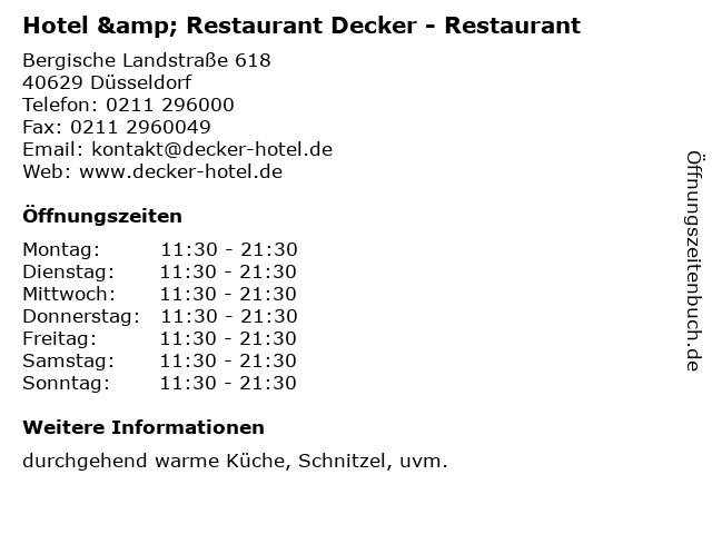 Hotel & Restaurant Decker - Restaurant in Düsseldorf: Adresse und Öffnungszeiten