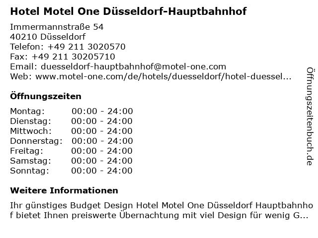 Hotel Motel One Düsseldorf-Hauptbahnhof in Düsseldorf: Adresse und Öffnungszeiten