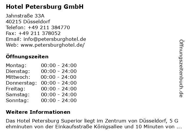 Hotel Petersburg GmbH in Düsseldorf: Adresse und Öffnungszeiten