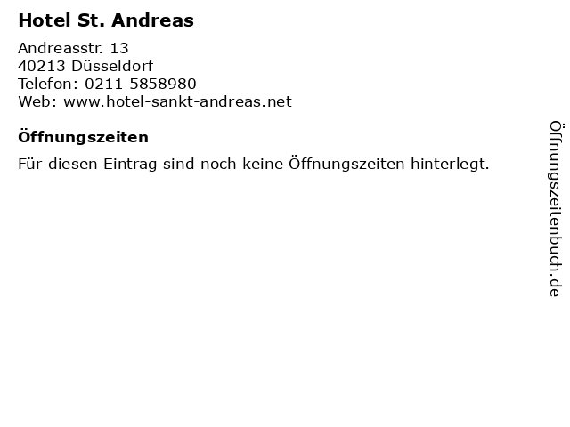 Hotel St. Andreas in Düsseldorf: Adresse und Öffnungszeiten