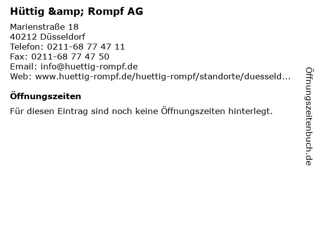 Hüttig & Rompf AG in Düsseldorf: Adresse und Öffnungszeiten