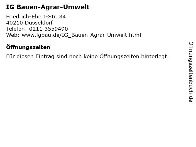IG Bauen-Agrar-Umwelt in Düsseldorf: Adresse und Öffnungszeiten