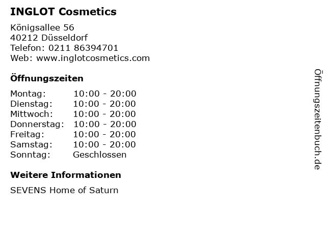 INGLOT Cosmetics in Düsseldorf: Adresse und Öffnungszeiten