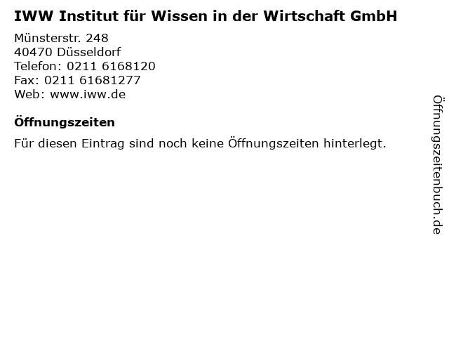 IWW Institut für Wissen in der Wirtschaft GmbH in Düsseldorf: Adresse und Öffnungszeiten