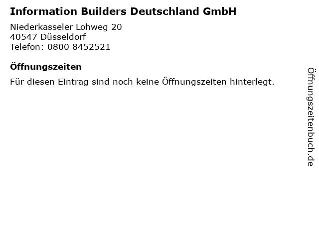 Information Builders Deutschland GmbH in Düsseldorf: Adresse und Öffnungszeiten