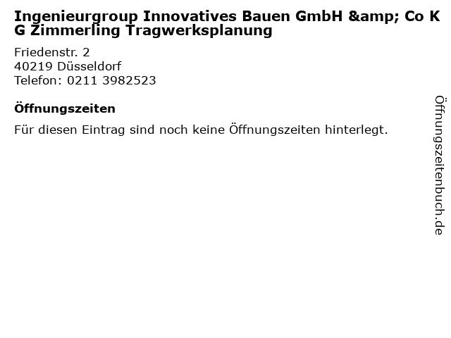 Ingenieurgroup Innovatives Bauen GmbH & Co KG Zimmerling Tragwerksplanung in Düsseldorf: Adresse und Öffnungszeiten