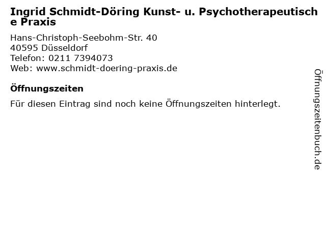Ingrid Schmidt-Döring Kunst- u. Psychotherapeutische Praxis in Düsseldorf: Adresse und Öffnungszeiten