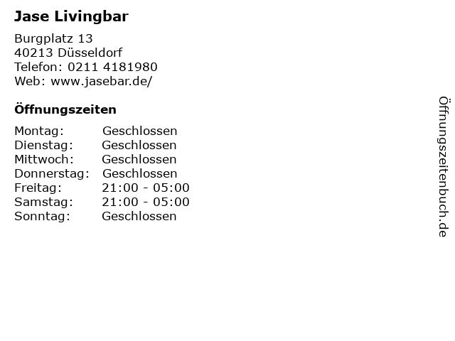 Jase Livingbar in Düsseldorf: Adresse und Öffnungszeiten