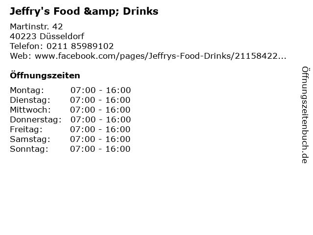 Jeffry's Food & Drinks in Düsseldorf: Adresse und Öffnungszeiten