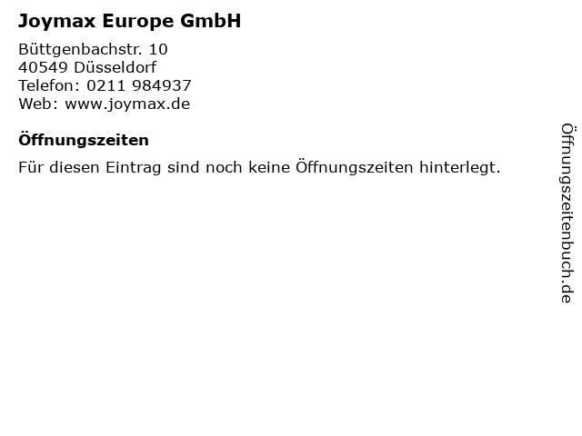 Joymax Europe GmbH in Düsseldorf: Adresse und Öffnungszeiten