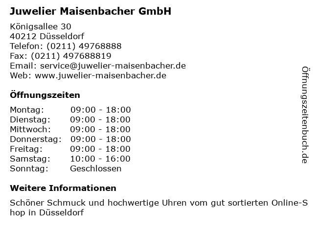 Juwelier Maisenbacher GmbH in Düsseldorf: Adresse und Öffnungszeiten