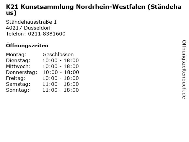 K21 Kunstsammlung Nordrhein-Westfalen (Ständehaus) in Düsseldorf: Adresse und Öffnungszeiten