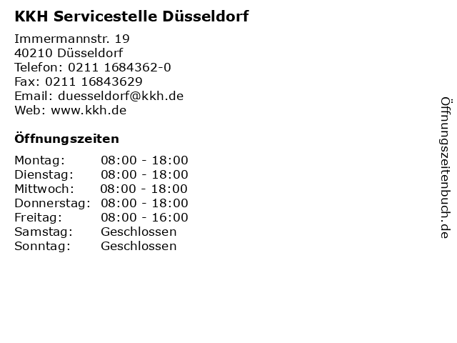 KKH Servicestelle Düsseldorf in Düsseldorf: Adresse und Öffnungszeiten