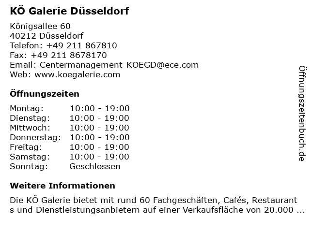 Kö Galerie Düsseldorf in Düsseldorf: Adresse und Öffnungszeiten
