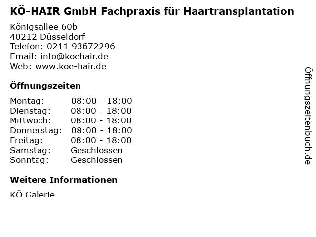 KÖ-HAIR GmbH Fachpraxis für Haartransplantation in Düsseldorf: Adresse und Öffnungszeiten